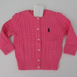 Ralph Lauren Pink Mini Cable Cardigan Sweater NEW
